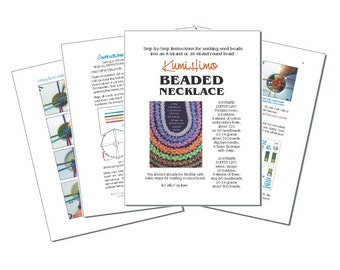 Kumihimo Beaded Necklace instructions. Digital download. How to add seed beads to a round braid. 7 pages. 8-strand and 16-strand.