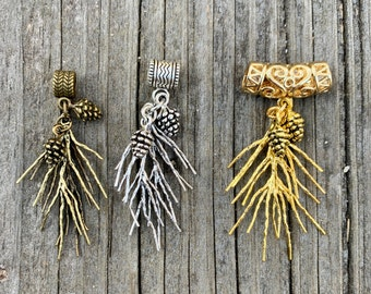 Pine Branches & Cones Pendant. Choice of 3 styles. Unusual option, for necklace. Nice with Kumihimo cords.