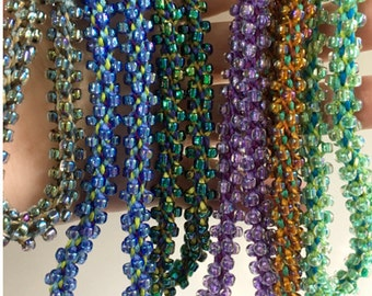Beaded Necklace Kit with sz 6/0 beads. 8-strand Kumihimo. Choice of color.
