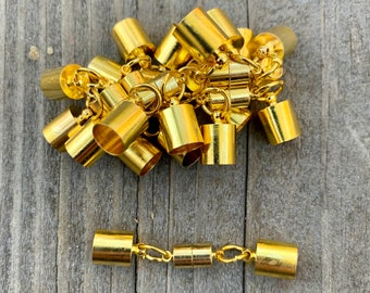 12 Golden Magnetic Clasps. 7.5mm opening. Set/12. Glue-in cord end caps.