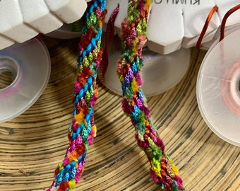 Fuzzy Rainbow Necklace Kit (or lanyard kit). Choice of hand dyed colors. Kumihimo 12-strand round braid. Easy project.