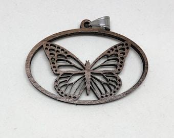 Hardwood Butterfly Pendant Laser Cut - Walnut or Maple wood - Monarch Butterfly
