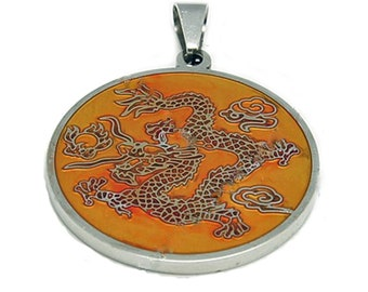 Stainless Enamel Dragon Pendant for necklaces (kumihimo or other style)