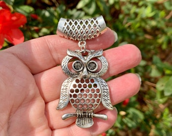 Owl Pendant with pierced sliding bail.