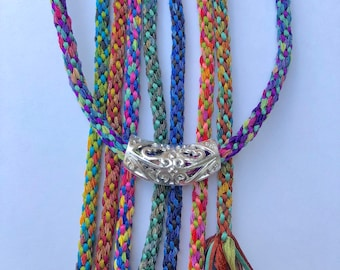 Tie-Dye Necklace Kit. Color choices. Easy Kumihimo project! All supplies.