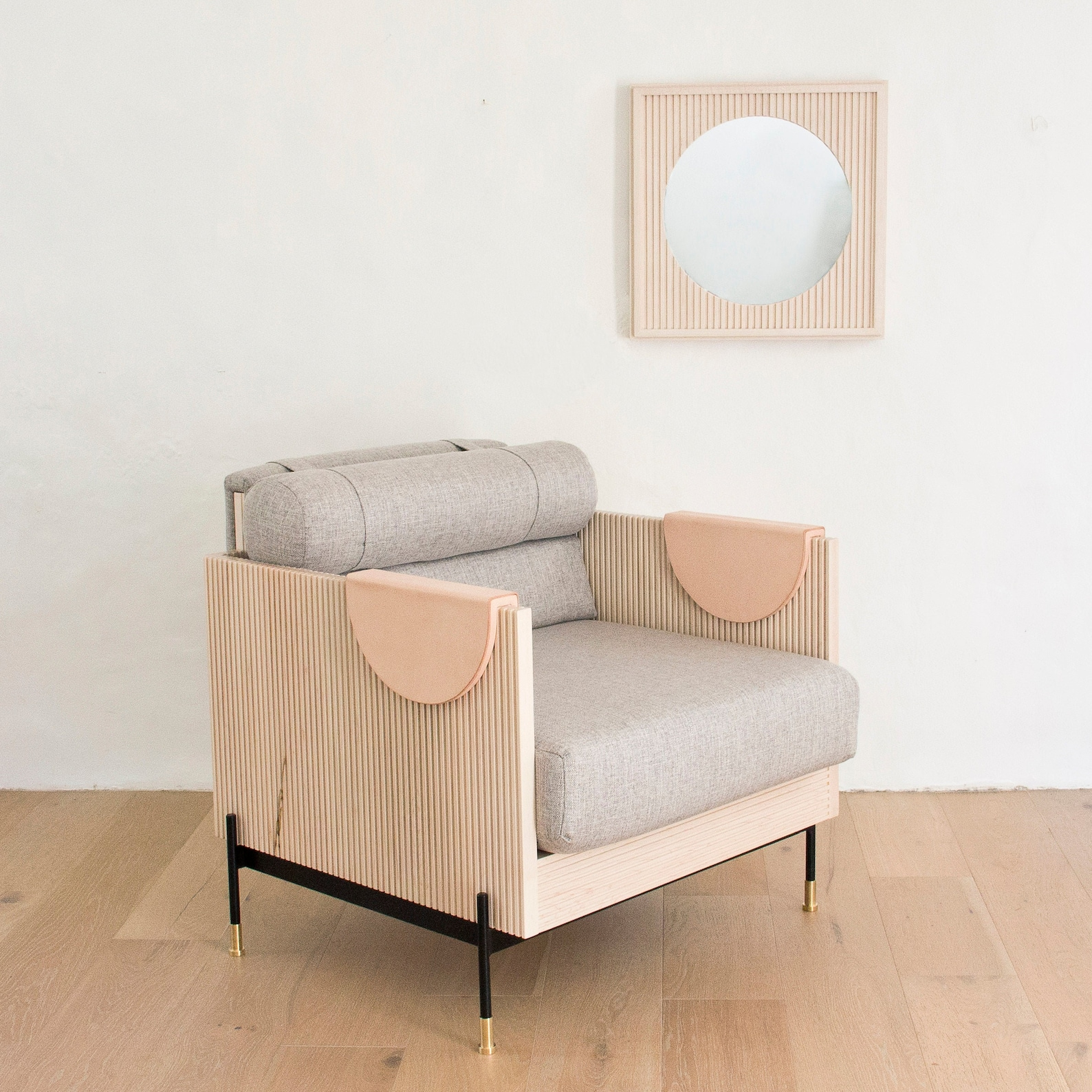 modern wood and steel fluted chair