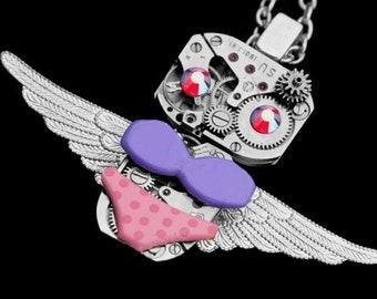 Whimsical Steampunk Owl Necklace, Fantasy Bird Pendant, Vintage Swarovski Jewelry