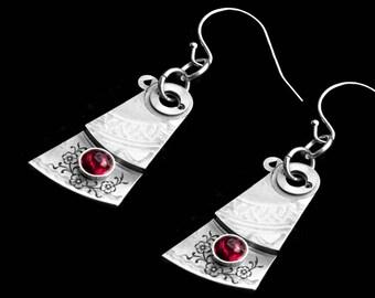 Tourmaline Steampunk Earrings, Rubellite, White Gold Bridal Wedding Earrings, Victorian Gemstone Jewelry