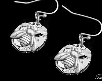 Bumble Bee Dangle Steampunk Earrings, Long Silver Drop Earrings, Boho Honey Bee Gift