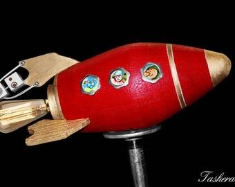 Rocket Lamp, Robot Light, Scifi Home Decor, Geekery Gift, Space Lamp, Steampunk Gift, Nursery