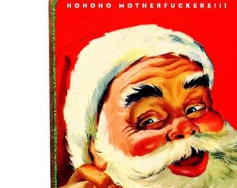 Funny Sarcastic Retro Santa Christmas Art SA13, Whimsical Snarky Adult Home Decor, Handmade Mature Novelty Gift, Original Wood Collage