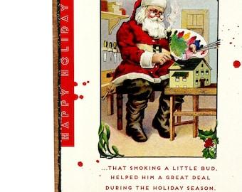 Funny Sarcastic Retro Christmas Stoned Santa Art SA20, Whimsical Snarky Adult Home Decor, Handmade Mature Novelty Gift Original Wood Collage