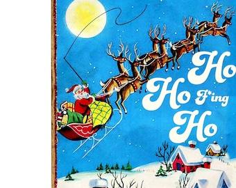 Funny Sarcastic Retro Christmas Santa Art SA18, Whimsical Snarky Adult Home Decor, Handmade Mature Novelty Gift, Original Wood Collage