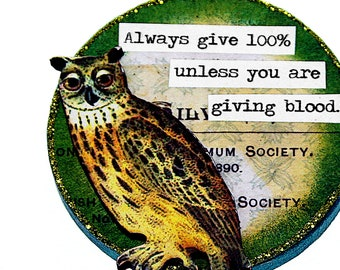 Sarcastic Owl Snarky Wood Ornament, Funny Whimsical Adult Christmas Decor, Handmade Mature Gift, Mini Art Original