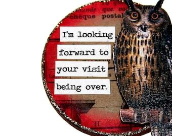 Whimsical Sarcastic Owl Ornament, Snarky Funny Adult Christmas Decor, Handmade Wood Mature Gift, Mini Art Original