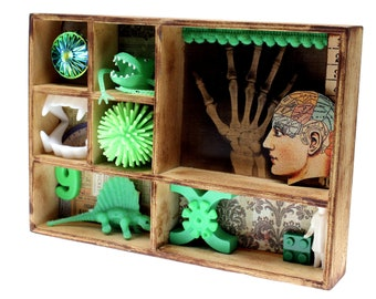 Weird Assemblage Found Object Toy Art, Instant Vintage Green Ephemera Collection, Oddities Home Decor, Whimsical Shadow Box, Unusual Gift