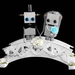 Robot Wedding Cake Topper, Wedding Centerpiece, Unique Wedding Gift, Steampunk Wedding Decor
