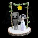 Custom Robot Wedding Cake Topper for Leah Only