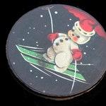 Vintage Snowman Christmas Ornament, Ephemera Antique Victorian Art Deco Ornament, Holiday Gift, Frosty Wooden Christmas Handmade Decor