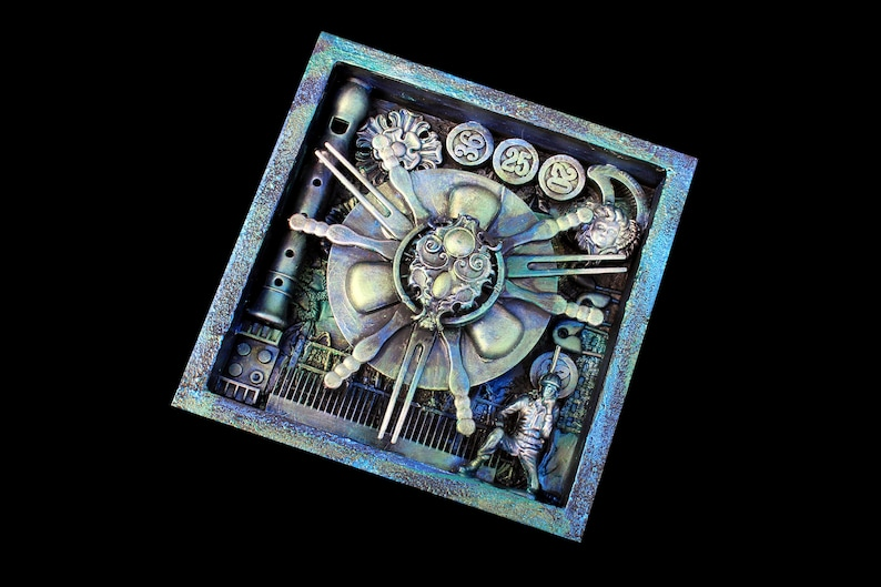 Weird Assemblage Art Found Object Shadow Box Mixed Media image 0