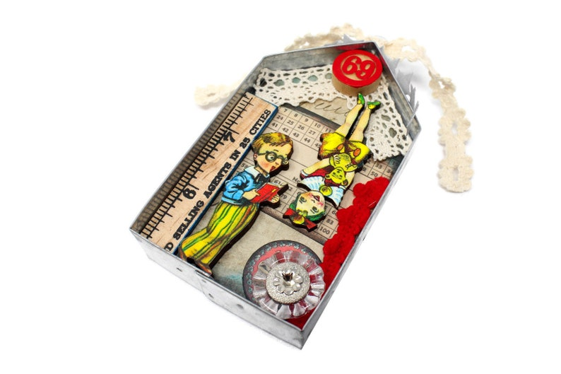Miniature Altered Circus Wall Art Assemblage Anthropomorphic image 0
