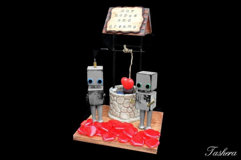 Robot Assemblage Art Sculpture Robot Wedding Cake Topper image 0