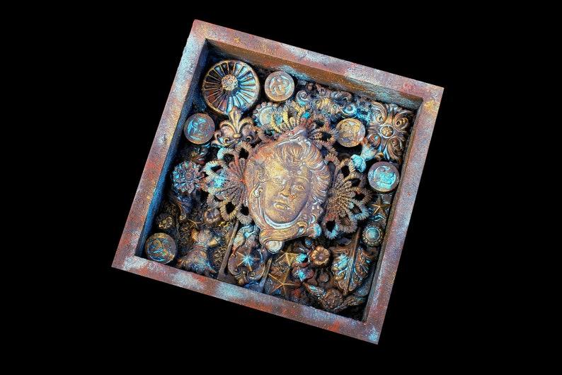 Steampunk Grunge Assemblage Art Found Object Shadow Box Art image 0