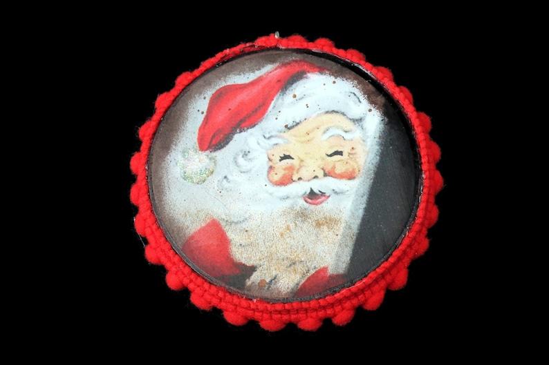 Handmade Vintage Santa Ornament Vintage Ephemera Santa image 0