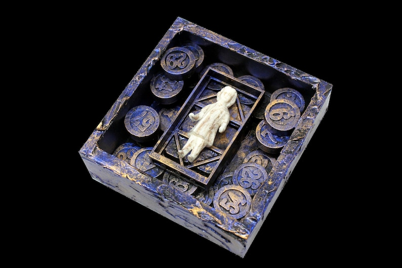 Miniature Assemblage Shadow Box Art Found Object Art Mixed image 0