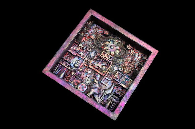 Shadow Box Assemblage Art Mixed Media Found Object Art 3D image 0