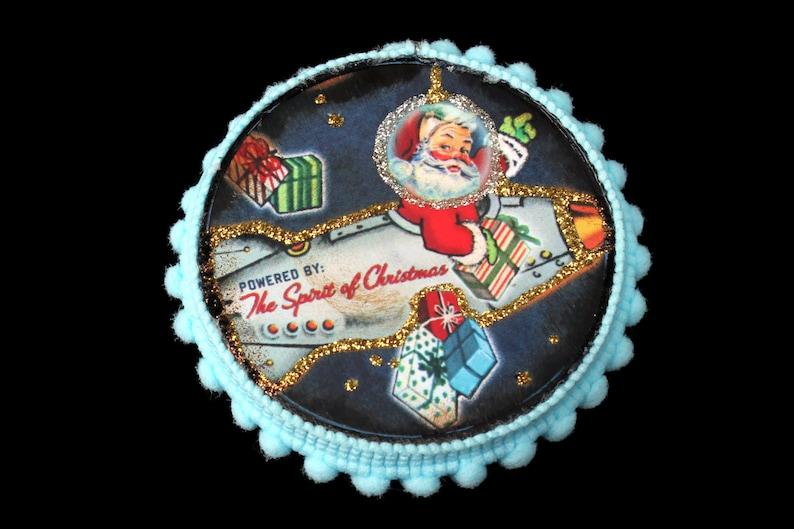 Rocket Santa Ornament Vintage Ephemera Ornament Science image 0