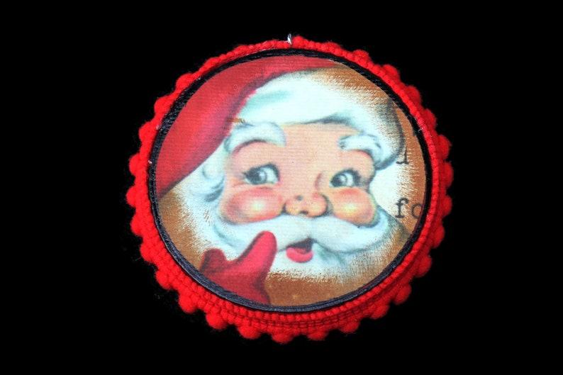 Old Santa Retro Ornament Vintage Ephemera Santa Ornament Mid image 0