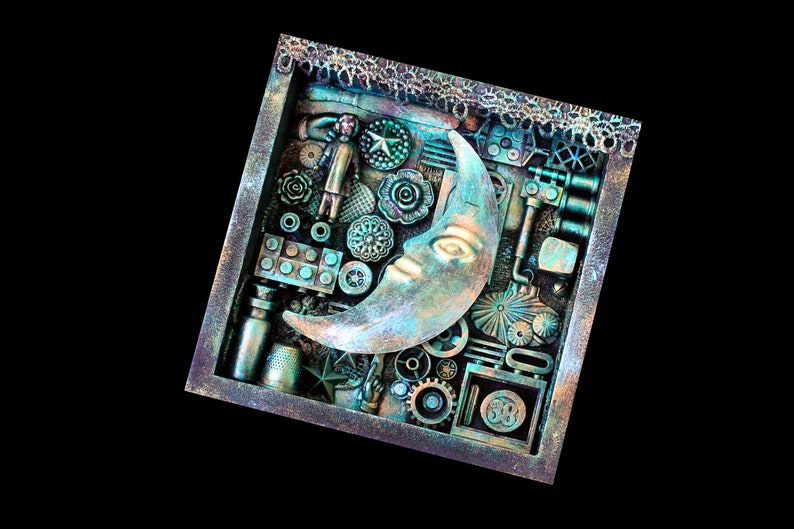 Moon Assemblage Art Found Object Shadow Box Art Mixed Media image 0