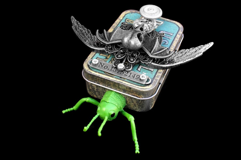 Assemblage Bug Art Sculpture Found Object Art Mixed Media image 0