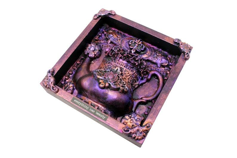 Recycled Mixed Media Assemblage Tea Pot Art Alice Wonderland image 0