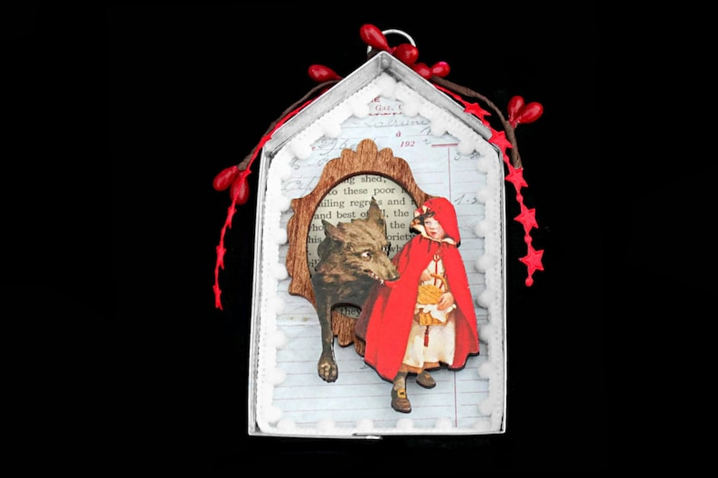 Mini Fairy Tale Assemblage Art Ornament Little Red Riding image 0