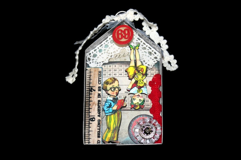 Mini Circus Assemblage Art Ornament Found Object Mixed Media image 0