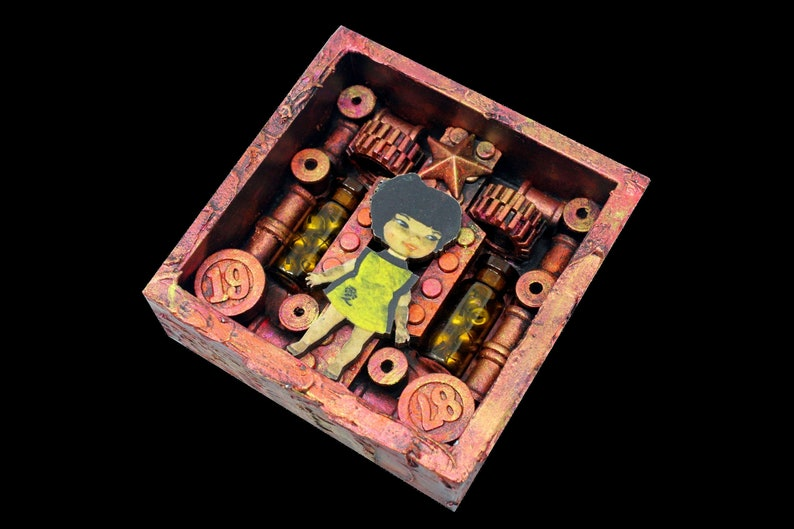 Mini Assemblage Shadow Box Art Found Object Recycled Wall image 0