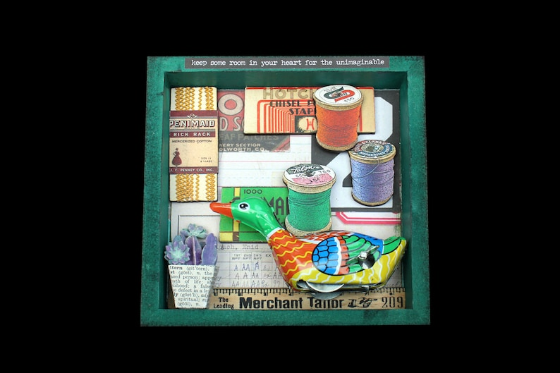 Assemblage Duck Found Object Art Mixed Media Shadow Box Wall image 0