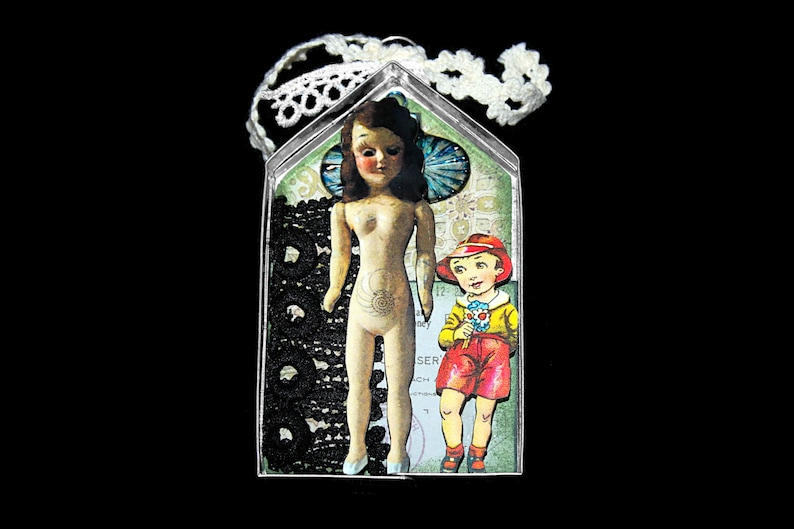 Mini Creepy Assemblage Art Doll Ornament Found Object Art image 0