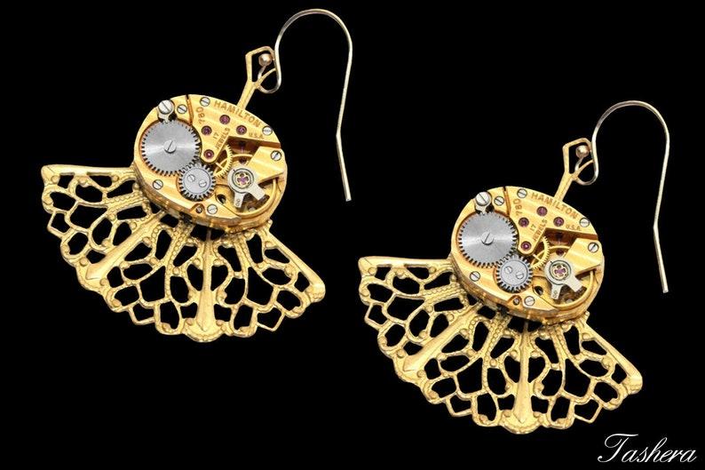 14K Yellow Gold Filigree Steampunk Earrings Dangle Bridal image 0