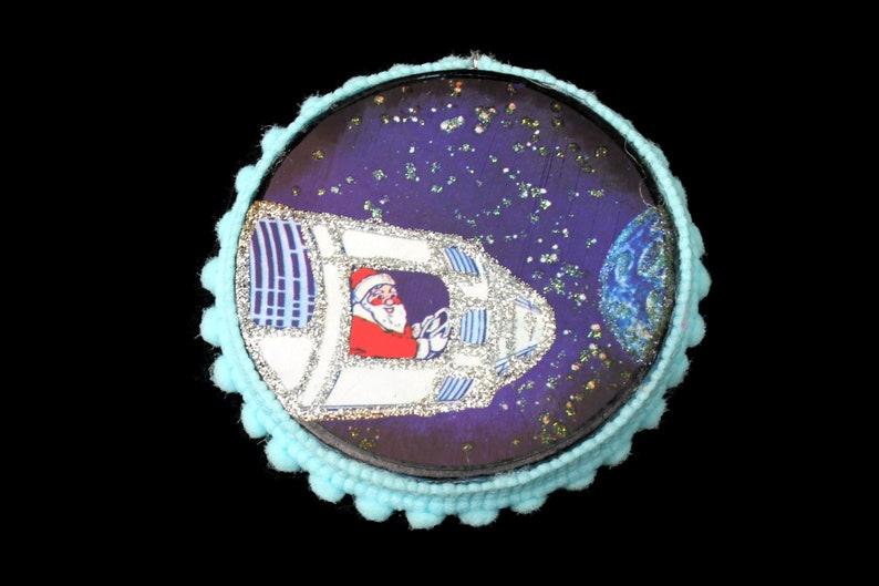 Vintage Space Santa Ornament Vintage Ephemera Ornament image 0