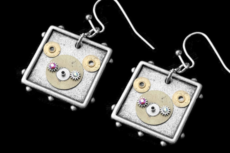 Steampunk Bear Earrings Silver Dangle Bear Earrings Found image 0