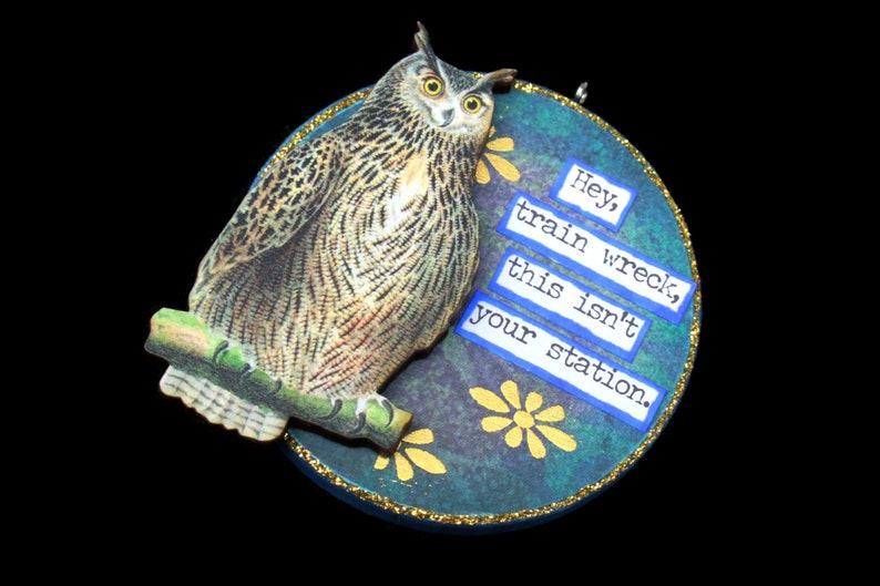 Sarcastic Owl Ephemera Ornament Snarky Owl Wall Art Snarky image 0