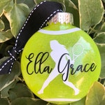 Dated & personalized shatterproof tennis ball racket girl silhouette ornament
