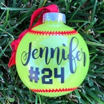 Personalized round shatterproof softball ornament
