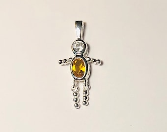 Sterling Silver .925 November crystal topaz Boy Birthstone Baby Babies charm pendant for necklace