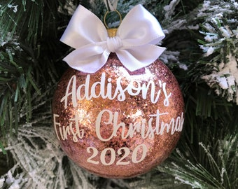 Rose Gold Ornament | Baby's First Christmas | Baby's First Christmas Ornament | Baby Girl Ornament | Baby Girl Christmas Ornament | Girl