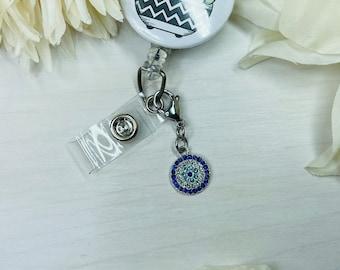 Evil Eye Charm   Badge Charm   Cute Badge Holder Charm   Badge Buddy   RN Badge Buddy   Badge Reel Charms    Evil Eye Jewelry   Crystal Eye