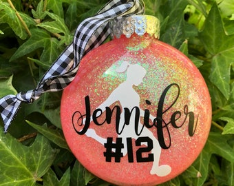 Dated personalized custom name coral glitter soccer ball girl white silhouette Christmas tree ornament school club team mom gift favor